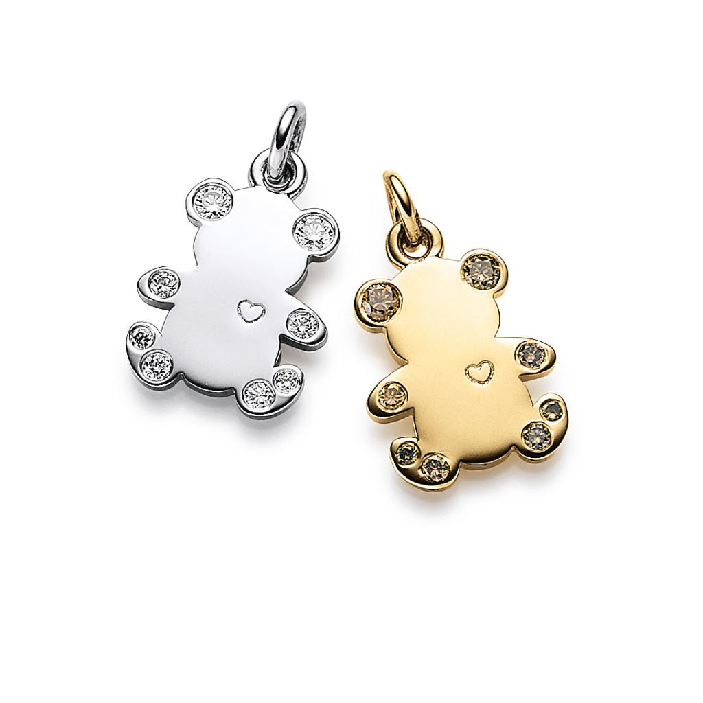 Bärenherz Anhänger Weißgold/Gelbgold