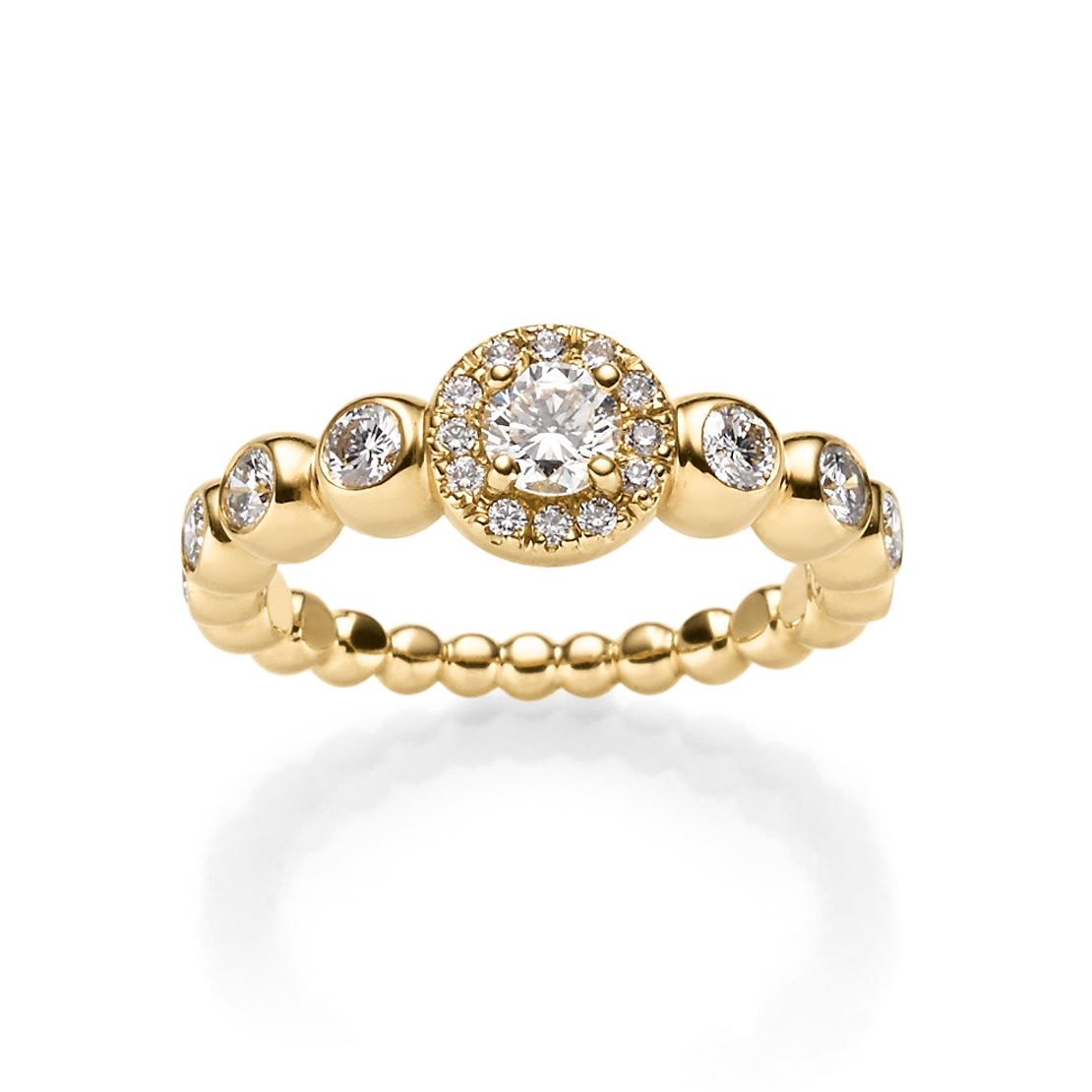 Sparkling Circles Damenring Gelbgold